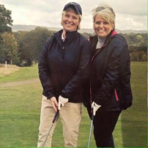 Alison & Jo on the first tee